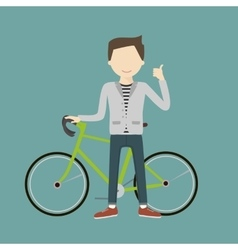 Man with a bicycle vector