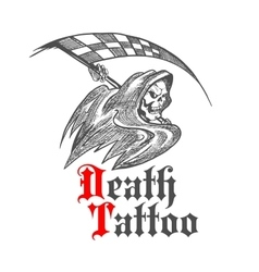 Skeleton with racing flag for tattoo design vector image