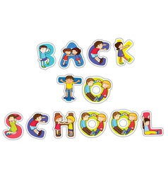 English word back to school vector