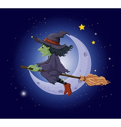 A scary witch in the sky near the moon vector image