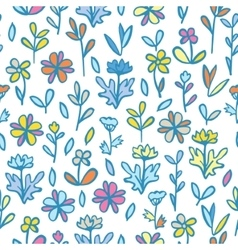 Abstract Flowers and Leaves Seamless Pattern vector image vector image
