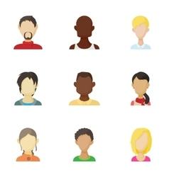Avatar people icons set cartoon style vector