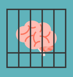 Brain in cage vector