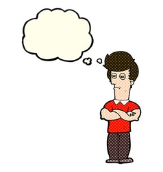 Cartoon man with folded arms with thought bubble vector