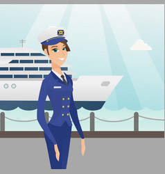 Caucasian ship captain in uniform at the port vector