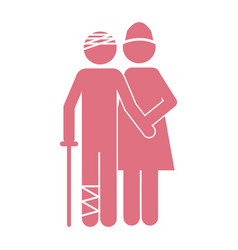 color silhouette pictogram nurse with bandaged vector image vector image