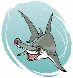 Crazy hammerhead shark vector
