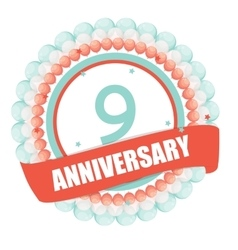 Cute template 9 years anniversary with balloons vector