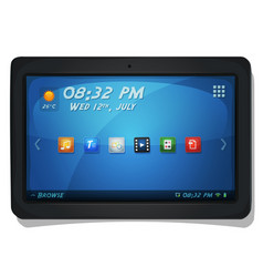 Digital tablet pc with os icons vector
