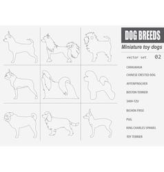 Dog breeds miniature toy dog set icon flat style vector