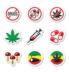 Drugs addiction marijuana syringe colorful labe vector image vector image