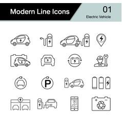 Electric car icon set 1 hybrid vehicle symbol vector