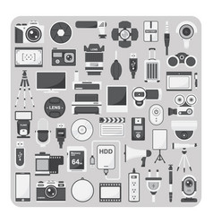 flat icons camera set vector image vector image
