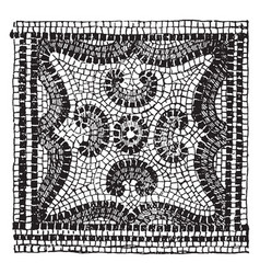 Floor mosaic are from villa italica vintage vector