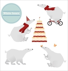 Four white polar bears isolated on background vector image vector image