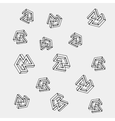 Geometric simple monochrome pattern of impossible vector