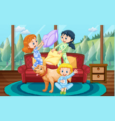 Girls playing pillow fight with friends at home vector