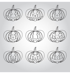 Halloween carved pumpkins outline icons set eps10 vector
