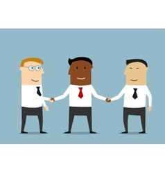 Handshake of multiethnic business partners vector image