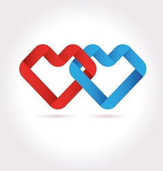 Hearts tied ribbon origami logo design vector