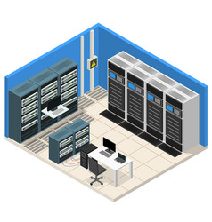interior server room isometric view vector image vector image