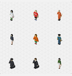 Isometric people set of guy girl investor and vector