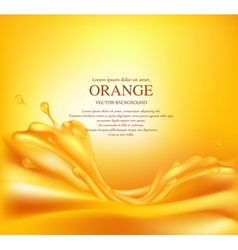 Juicy orange background with splashes of juice vector