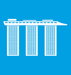 marina bay sands hotel singapore icon white vector image vector image