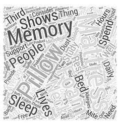 Memory foam mattress pillows word cloud concept vector
