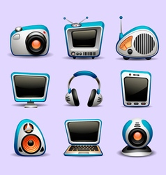 Multimedia icons blue color vector