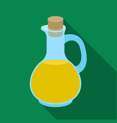 Pitcher with olive oilolives single icon in flat vector