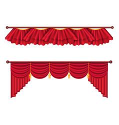 Red curtains set luxury silk curtain vector
