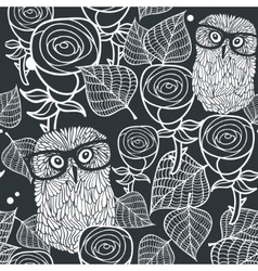 Seamless black and white pattern with cute birds vector image vector image