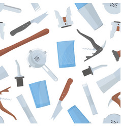 seamless pattern with bartender s tools on white vector image vector image