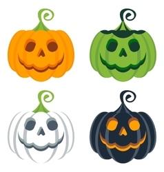 Set of helloween colored pumpkins vector