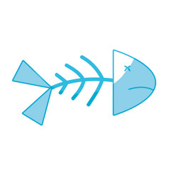 Silhouette fish death with its spine and tail vector