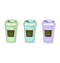 Tea paper cups set icon template pink quartz and vector