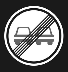 The end of prohibition overtaking sign flat icon vector