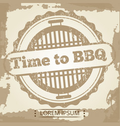 time to bbq grunge background with label vector image
