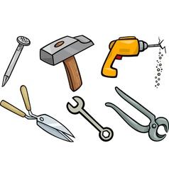 Tools objects cartoon set vector
