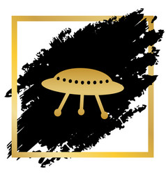Ufo simple sign golden icon at black spot vector