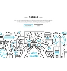 Video gaming - line design website banner vector