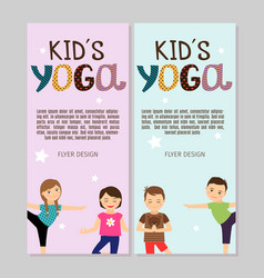 Yoga flyers with boys and girls vector