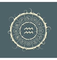 Astrology symbols in circle water bearer sign vector