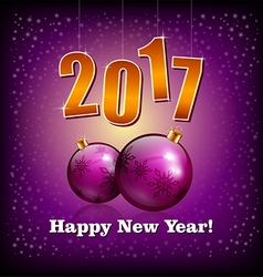 Violet baubles and 2017 new year numbers vector