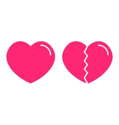 Flat design icons of normal and broken hearts vector