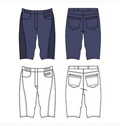 Unisex outlined template skinny grey shorts vector