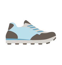 Blue running sneaker isolated footwear flat icon vector