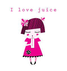 Graphics of a little girl drinking juice vector