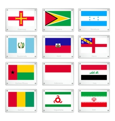 Gallery of national flags on metal texture plates vector